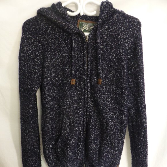 ROOTS, small, hooded zip up sweater w/ thumbholes